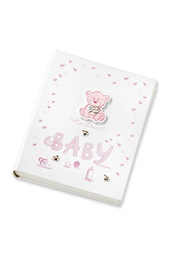 Acca Leatherette Baby Girl Photo Album Plus CD with 925 Sterling Silver Hearts and Wooden Teddy Bear in Gift Box, Perfect for Nursery, Baby Shower, Ne…