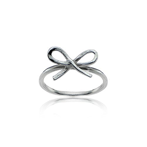 Sterling Silver High Polished Dainty Bow Tie Stackable Midi Ring, Size 5 (Sterling Bow Ring)