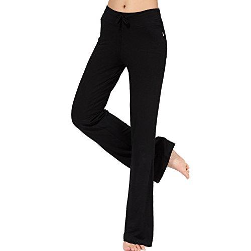 OCHENTA Pantalones sueltos con elasticidad Yoga pants para Mujer Negro