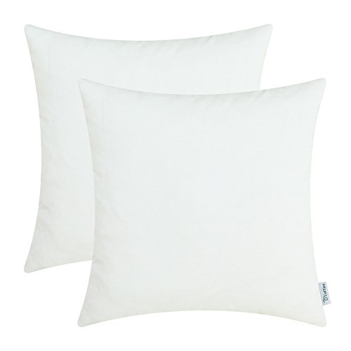 CaliTime Pack of 2 Throw Pillow Covers Cases for Couch Sofa Bed Solid Dyed Soft Cotton Canvas 18 X 18 Inches White