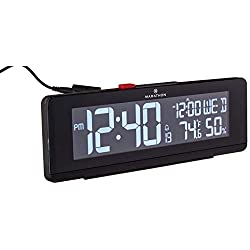 Marathon CL030063BK USB Charger with 2 Charging Ports and Large Changing Display. Alarm Clock with Snooze, Light, Date, Temperature & Humidity. Hotel Collection. Color B, Midnight Black