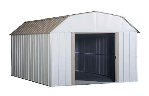 - Arrow LX1014 10 x 14 ft. Barn Style Galvanized Taupe/Eggshell Steel Storage Shed
