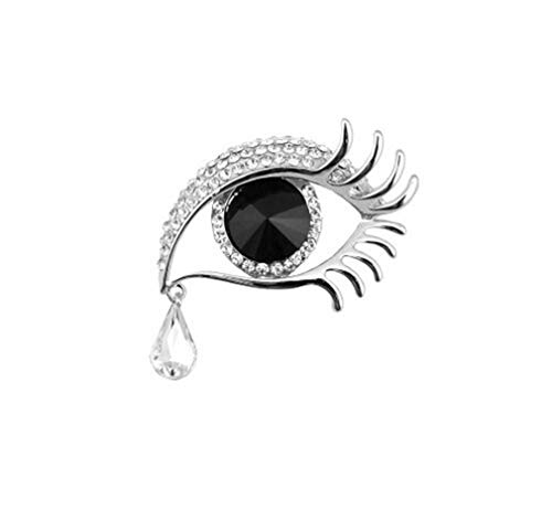 Black Designer Brooch - jengkd Brooches Jewelry Silver-Color Big Eye Tears Crystal Brooches for Women Wedding Clothes Brooch Pins Black Silver