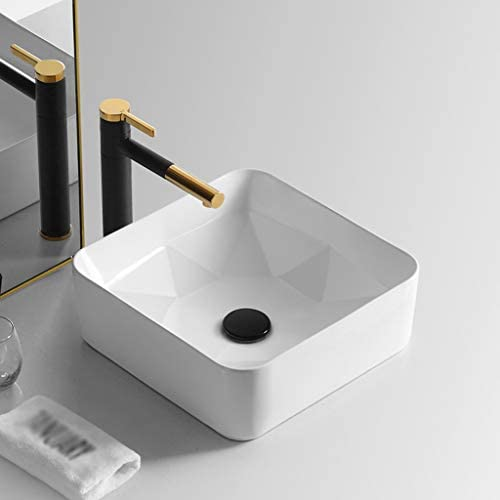 WJ 洗面台 (タップなし)バスルームの洗面台、正方形の丸いセラミックホームホテルシンクの洗面化粧台、単一流域、3つのサイズの数 /-/ (Size : 38X38X14cm)