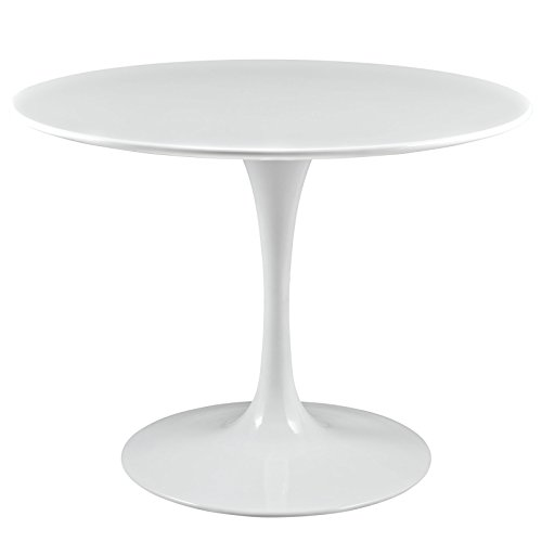 "Modway Lippa Mid-Century Modern 40"" Round Dining Table in White"