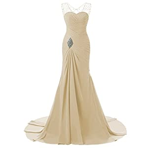 d60d3d47379 Lily Wedding Womens Mermaid Prom Bridesmaid Dresses 2018 Long Evening Formal  Party Ball Gowns FED003 Champagne Size18 Plus