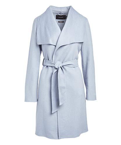 Belted Coat Wool Via (T Tahari Womens Ellie Wool-Blend Wrap Coat, L, Blue)