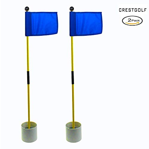 2018 New-arrival Detachable Portable Backyard Practice Golf Hole Pole Cup Flag Stick, golf Putting Green Flagstick 2 sets count (2cups, 2flags and 2poles) (blue)