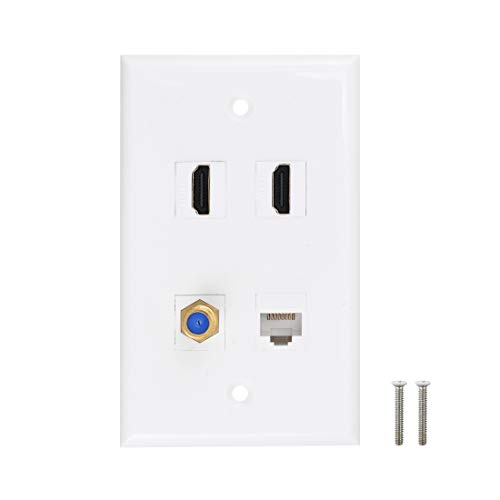 HDMI Coax Ethernet Wall Plate, 2 Port HDMI Keystone Female to Female, 1 Port Coax Keystone Female to Female, 1 Port CAT6 Keystone Female to Female Wall Plate - White