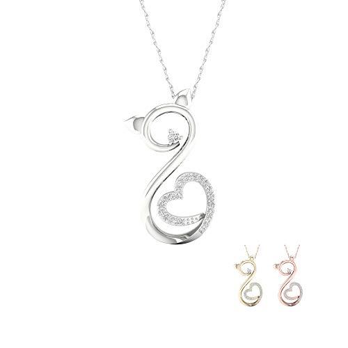 - IGI CERTIFIED 10k White Gold 1/14ct TDW Diamond Cat with Heart Pendant Necklace (I-J,I2)