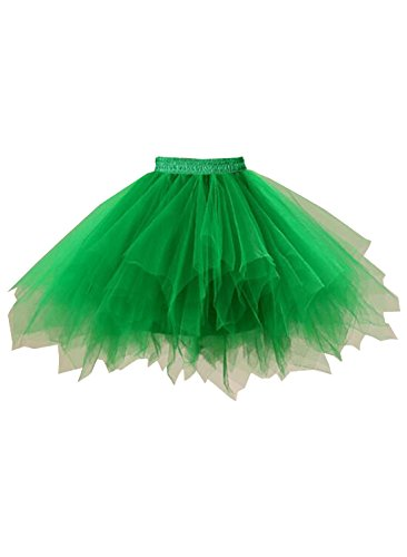 (emondora Women's Tutu Tulle Petticoat Ballet Bubble Skirts Short Prom Dress Up Green Size XXL-XXXL)
