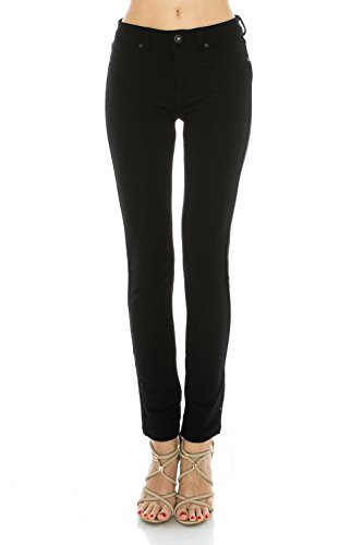 Poplooks Women's Super Comfy Stretch Pull-On Casual Mid Rise Knit Jegging Pants (Medium, Black) - Cotton Stretch Knit Pants