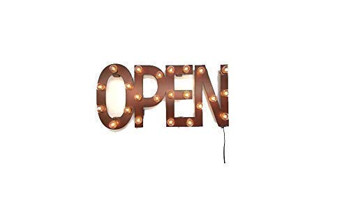 Open Sign, Lighted Marquee Made out of Rusted Steel, Vintage-Inspired 1 week super sale