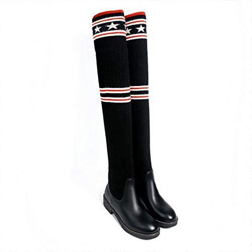 Negro fondo Botas Elástico Sobre Calcetines Salvajes De Super 34 43 hilo Gz Largos calcetines La Estudiante Mujer Plano Invierno mujer Rodilla RzZqdx7