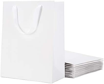 Amazon Com Malicplus 12 Large Gift Bags 10x5x13 Inches Premium Matte White Large Bags With Handles Cotton For All Occasions Grid Pattern Everything Else