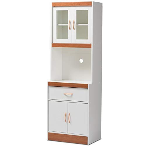 Baxton Studio Laurana Kitchen Cabinet and Hutch in White and Cherry by Baxton Studio (Image #1)