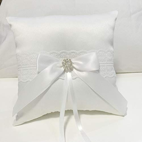 Gotian Wedding Ceremony Ring Bearer Pillow Rustic Retro Worn White Embroidered Floral Lace Trim and White Bow Ribbon Wedding Ring Bearer Pillow Cushion with Pearl Beaded Lace Silk Pillow (D)