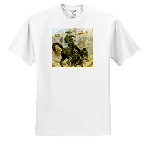 3dRose Cassie Peters Horses - Bucking Bronco Grunge - T-Shirts - White Infant Lap-Shoulder Tee (6M) (ts_292670_66)