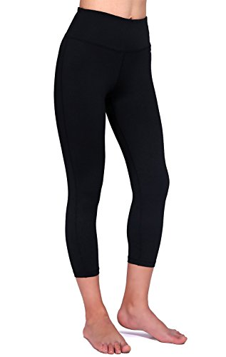 Daisity Women's Yoga Capris - Gym Activewear Slim Spandex Tights - Hidden Pocket Color Black Size L