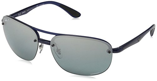 Ray-Ban RB4275CH Chromance Lens Square Sunglasses, Blue Frame/Silver Mirror Lens - Sunglasses Ray Blue Ban