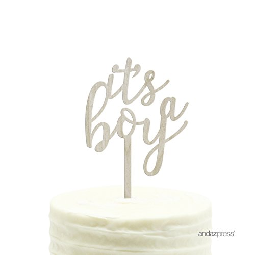 Andaz Press Baby Shower Wood Cake Toppers, It's A Boy, 1-Pack, Decor Decorations]()