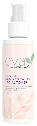 Eva Naturals All-In-One Skin Renewing Facial Toner (4 ounce) - Face Moisturizer and Natural Skin Cleanser Brightens, Restores and Helps Fight Acne - with Vitamin C, Lavender and Bee - In Eva