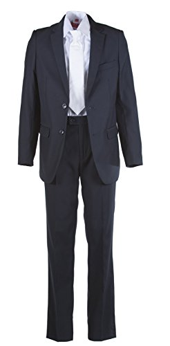 Boys Slim Fit Navy Blue Communion Suit with Suspenders & Paisley Tie (8 Boys) by Tuxgear