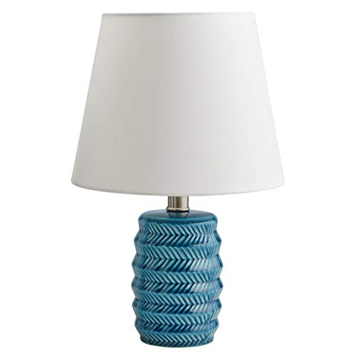 Rivet Mid Century Modern Geometric Ceramic Living Room Table Lamp With Light Bulb and White Shade - 10 x 10 x 15.5 Inches, Blue