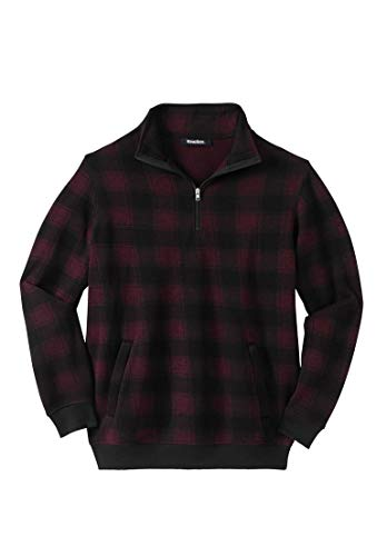 KingSize Men's Big & Tall 1/4 Zip Sweater Fleece, Rich Burgundy Plaid Tall-L