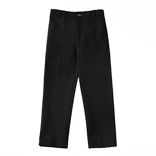 Yuanlu Flat Front Dress Pants for Toddler Boy Black Size 8 ()