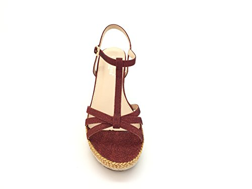 Platform Sandale String Shiny Sole Woman Chic Mouth Lined compensée Red liège gzxZEXwE