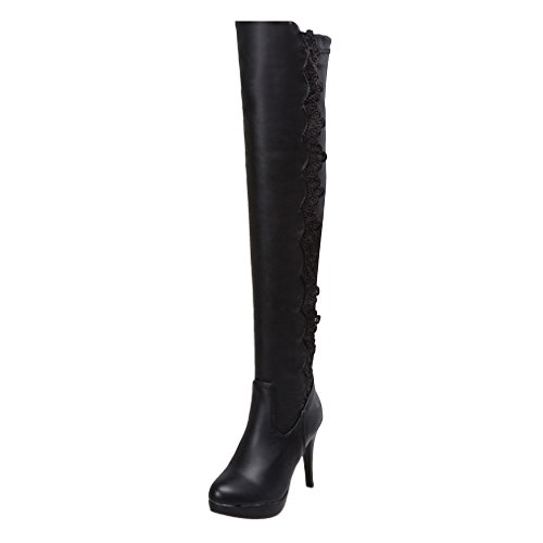 YE Womens High Heels Platform Designer Lace Over The Knee Stretch High Boots with Zip Black