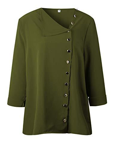 Mode Asymtriques La Armygreen Les Mousseline De Page Blouses Haut Libert Chemisiers HwnCWx4pq