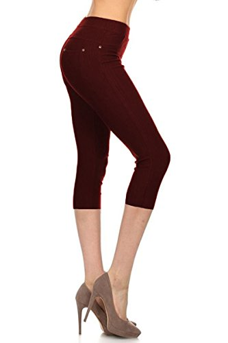 Leggings Depot Premium Quality Jeggings Regular and Plus Soft Cotton Blend Stretch Solid Fitted Capri Pants w/Pockets (One Size (Size 0-12), Burgundy)