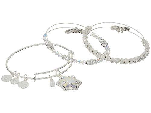Alex and Ani Crystal Snowflake Set of 3 Bangle Bracelet, Shiny Silver, Expandable ()