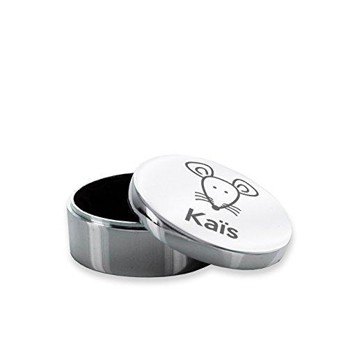 Boite à dents ronde argentée personnalisée d'une souris et d'un prénom Amikado