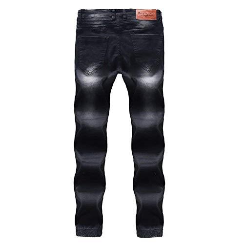 Flacos Vaqueros Negro Pantalones Battercake Rasgados Destroyed Ajustados Hombres Retro Desgastados Los De Cómodo 7w70TqR