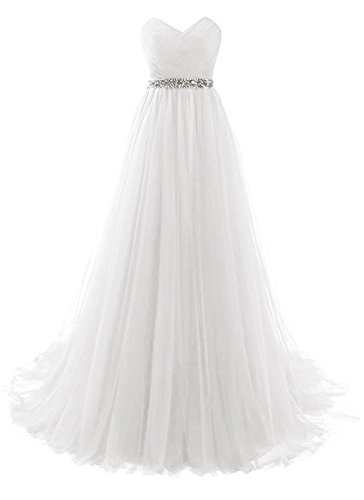 (White Strapless Prom Dress Tulle Princess Evening Gowns with Rhinestone Beaded Belt Size 10)