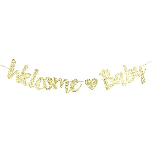 Gold Glitter Welcome Baby Banner Happy 1st Birthday Party Decoration Props, Themes Party Supplies -