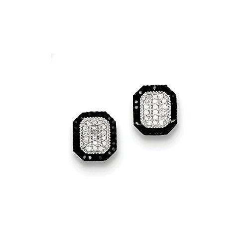 Sterling Silver Black and White Diamond Earrings by CoutureJewelers