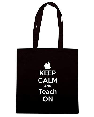 Borsa Shopper Nera TKC1118 KEEP CALM AND TEACH ON