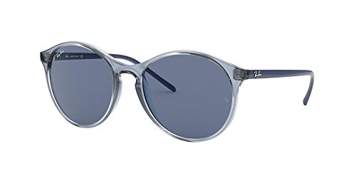 Ray-Ban RB4371 Round Sunglasses, Transparent Blue/Blue, 55 mm (Ray Ban Sonnenbrillen Sale)