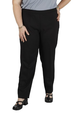 Bend Over Women's Plus Size Elastic Waist Pull-On Pants Black - - Women Bend