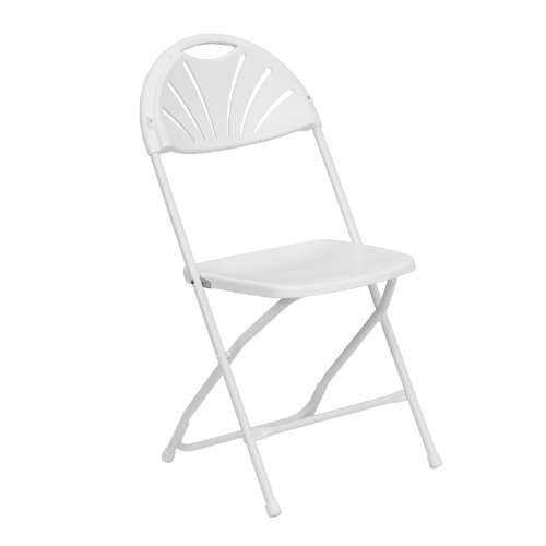 Flash Furniture LE-L-4-WHITE-GG Hercules Series 800-Pound White Plastic Fan Back Folding Chair