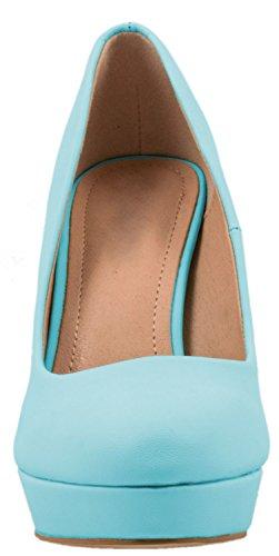 cuir Chaussures Heels simili Bleu bloc Femmes High escarpins talon qY4Rv4