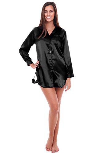 Del Rossa Womens Satin Solid Color Nightshirt, Boyfriend Style Sleepshirt with Mask