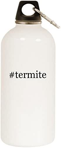 Molandra Products #Termite - White Hashtag 20oz Stainless Steel Water Bottle with Carabiner