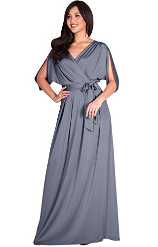 KOH KOH Plus Size Womens Long Semi-Formal Short Sleeve V-Neck Full Floor Length V-Neck Flowy Cocktail Wedding Guest Party Bridesmaid Maxi Dress Dresses Gown Gowns, Light Slate Gray XL 14-16 ()