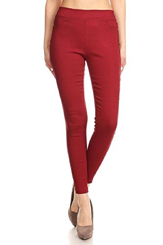 Office Jogger - Women's Cotton Blend Super Stretchy Skinny Solid Jeggings Burgundy Medium