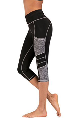 Imido Women's Yoga Capri Pants Sport Tights Workout Running Leggings With Side Pocket (M, Gray Capri Pants)